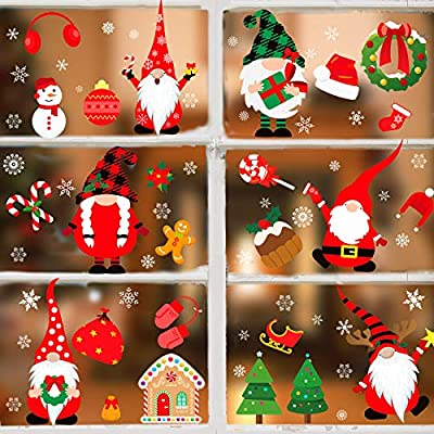 Christmas Double Side Window Clings, 8 Sheets 316 PCS Gnome/Tomte/Nisse Window Clings Christmas Elves Window Decorations Kids Window Stickers for Xmas Window Decals