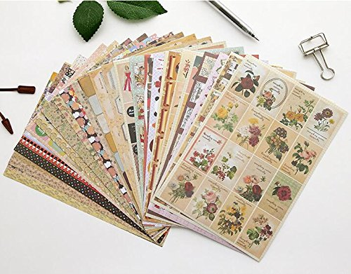 Masking Sticker/Stamp Set, 24 Sheets, Lovely Decorative Self Adhesive Sticker/Washi Tape from Chris.W(8.15x5.5 Inches)