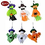 Halloween Ghost Hanging Decoration Windsock, Spook Pumpkin Fly Witch Scarecrow Doll Realistic Looking Decoration for Indoor/Outdoor Halloween Party Hanging Ornaments