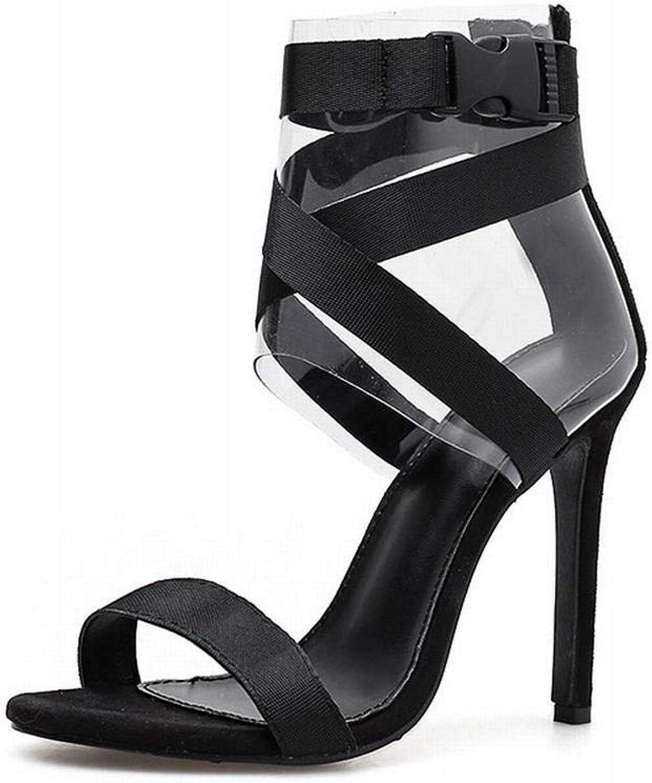 Sugoishop Women's High-Heeled Webbing Film Roman shoes Stiletto High Heel Sandals