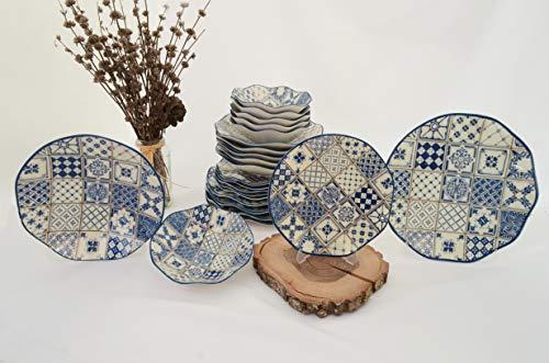 Güral Porselen Juego de 24 piezas moderno Dizayn (Plaid Blue - White)