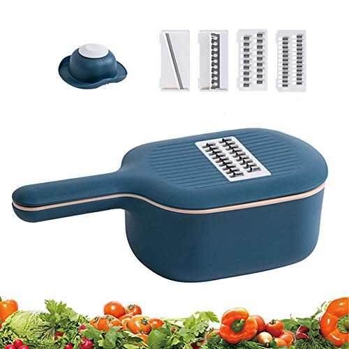Vegetable Chopper Slicer with Container 4 Interchangeable Blades Food Choppers Cutter and Dicers for Garlic Cabbage Carrot Potato Tomato Fruit