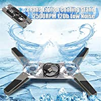 Laptop Cooling Stand 2500RPM Fit For 8-14 Inch Laptop Notebook 2 Quiet Fans Tool Dual Cooler Pad Notebook Computer Stand Cooling