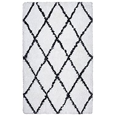 Rizzy Home Connex Collection Polyester Area Rug, 9' x 12', White/Gray/Rust/Blue Diamond