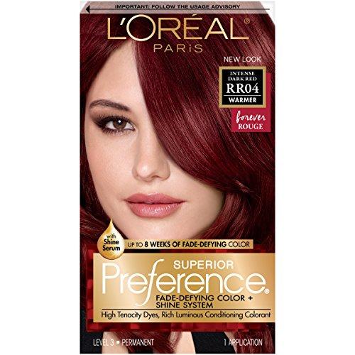 L'Oréal Paris Superior Preference Fade-Defying + Shine Permanent Hair Color, RR-04 Intense...