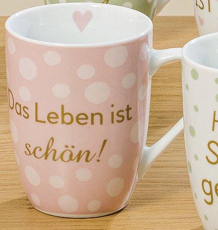 Bloominghome Tasse mit Henkel 330ml Porzellan Das Leben ist schön H11 cm Kaffeebecher