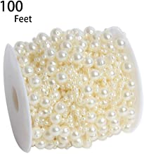 Hapy Shop 100 Feet Ivory Artificial Pearls String Fishing Line by The Roll for Garland Flowers Wedding Party,Bridal Bouquet Crafts Decoration & Home Decoration