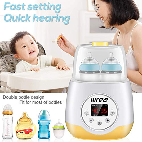 Wrea Baby Bottle Warmer & Bottle Sterilizer,5 in 1 Breast Milk Formula Baby Food Heater Intelligent Thermostatic System,with LED-Display and Accurate Temperature Control,Bonus Bottle Cleaning Brush
