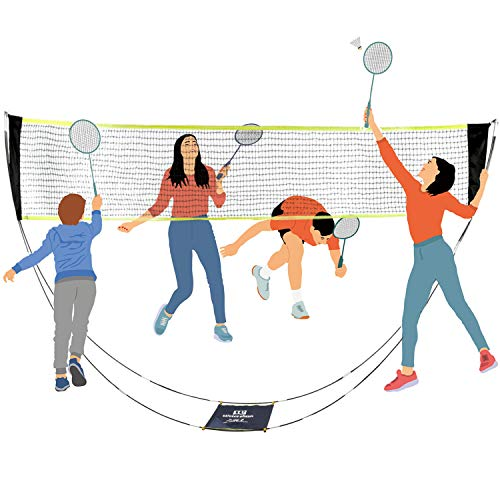Dofilachy Badminton Net - Portable Badminton Net Set (with Carrying Bag) for Outdoor/Indoor Court - Badminton, Tennis and Volleyball Net, No Need Tools or Stakes