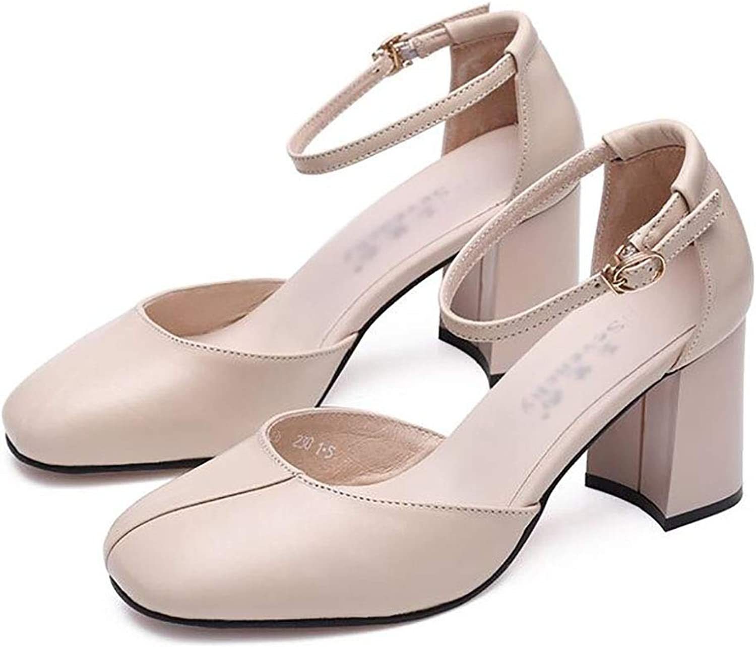 Women's shoes,Non-Slip Comfortable shoes,Single shoes,Coarse Heel shoes,Comfortable Women's shoes (color   B, Size   34)