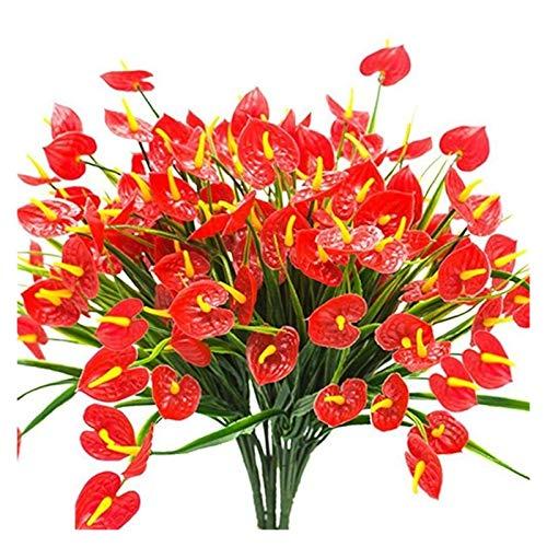 ZSDSX 4 Manojos De Artificial Flores Artificiales Artificial Anthurium Planta Casquillos de plástico for Colgar ecologización de Interior y Exterior Flor Comederos la decoración del hogar
