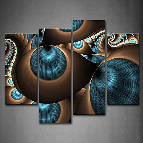 First Wall Art - Abstracto Cuadros en Lienzo Marrones Azul Remolino Agujeros Decoracion de Pared 4 Piezas Modernos Mural Fotos para Salon,Dormitorio,Baño,Comedor