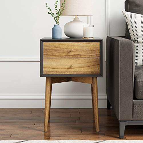 Nathan James 32703 Harper Mid-Century Side Table 2-Drawer Nightstand