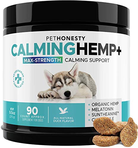 PetHonesty Advanced Calming Hemp Treats for Dogs - All-Natural Soothing Snacks with Hemp + Valerian Root, Stress & Dog Anxiety Relief - Aids with Thunder, Fireworks, Chewing & Barking