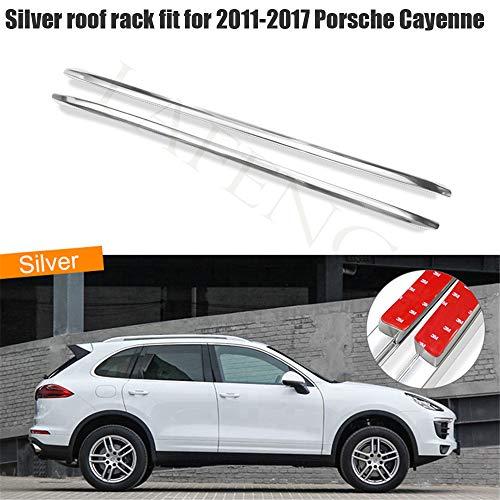 LAFENG silberner Dachträger passend für 2011–2017 Porsche Cayenne Aluminiumlegierung Gepäckträger Dachträger Dachträger Dachreling