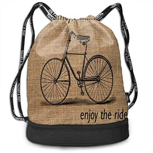 KKLDOGS Mochila deportiva con cordón Life's A Journey Enjoy The Ride Travel Durable Large Space Gym Saco Vintage Impermeable