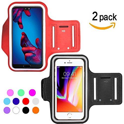 Ycloud [2 Pack] Wasserdicht Sportarmband für HTC One M9/HTC One M9+/HTC One A9/HTC One E9+ Maximale Größe bis 5.5Zoll -(Rot+Schwarz)