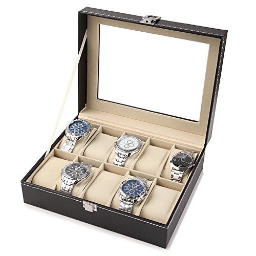 Queen.Y Caja de reloj de cuero de 10 cuadrículas, organizador de caja de reloj con tapa de cristal, caja de visualización de reloj, color negro