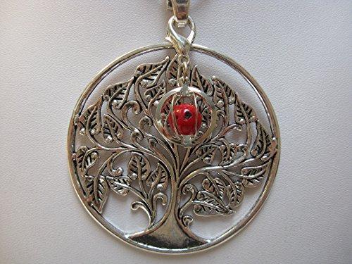 Natural mente – Pendentif Arbre de Vie, la pierre + 1 Chakra, pendentif pour collier, amulette, arbre de vie, avec bandeau plastique, pierres précieuses, n ° 128