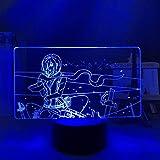 FZRZGDSH Lámpara 3D Luz de Noche 3D Anime Ataque de luz LED en Titan Mikasa Ackerman para decoración de Dormitorio Luz de Noche Niño Regalo de cumpleaños Manga Shingeki No Kyojin Lámpara 3D