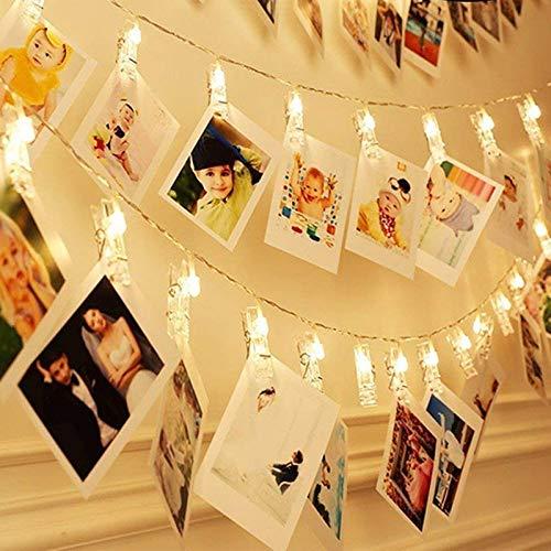 Luces de cadena LED fiesta de navidad decoración del hogar clip de fotos clip guirnalda luces de hadas batería de cadena 3m30 leds