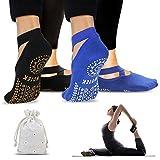 ISUDA Calcetines de Yoga Pilates para Mujer, 2 Pares de Calcetines Pilates Yoga Antideslizantes, con...
