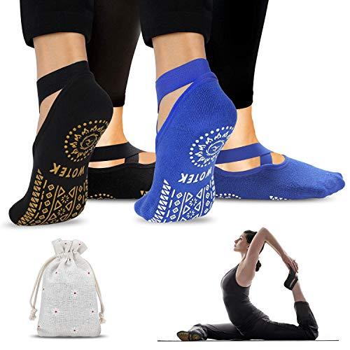 ISUDA Calcetines de Yoga Calcetines Antideslizantes Mujeres (2 Pares) - Calcetines de Yoga Rranspirables Calcetines - para Pilates, Yoga, Barre, Ballet, Danza, Fitness, Barefoot Dance - EU 36-42