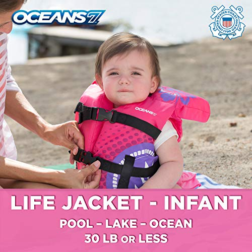 Oceans7 Us Coast Guard Approved, Infant Life Jacket, Type II Vest, PFD, Personal Flotation Device, Flex-Form Chest, Pink/Berry