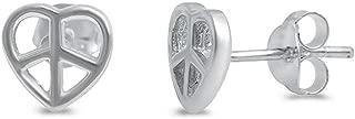 Brightt Peace Sign Heart .925 Sterling Silver Earring
