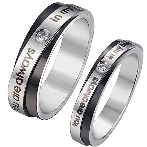 "KY Jewelry Anillo grabado con texto en inglés ""You are Always in My Heart"" para parejas, anillos de compromiso de boda"