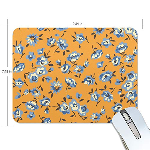 Mouse pad Design Blue Flower Orange Extended Ergonomic for Computers Mouse mat Custom-Made