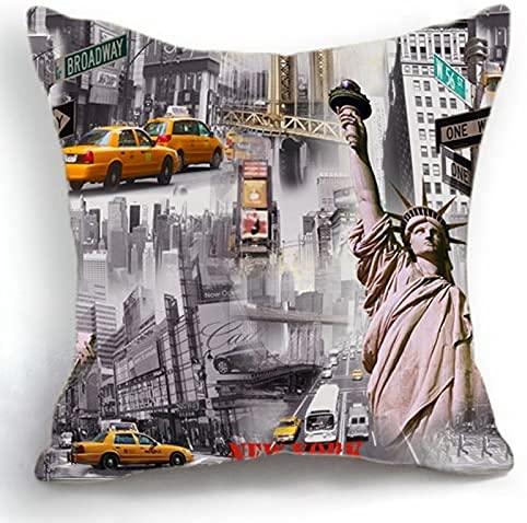 Telisha - Funda de cojín estilo retro de Nueva York con estatua de la libertad, 45 cm