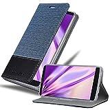 Cadorabo Hülle für LG V10 - Hülle in DUNKEL BLAU SCHWARZ – Handyhülle mit Standfunktion & Kartenfach im Stoff Design - Case Cover Schutzhülle Etui Tasche Book