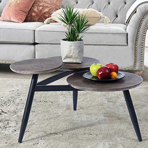 Homy Lin Sorprendente Mesa de Café – Cepillado de Roble Negro – Superficie de Textura de Madera y Patas de Acero Duraderas
