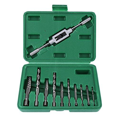 Defektes Schraubenauszieher Set,Jectse HHS Beschädigte Schraube Extractor Bohrer Gebrochene Schraubenschlüssel Set mit Hahngriff ,2,0 mm, 3,0 mm, 4,0 mm, 6,5 mm, 7,5 mm Durchmesser