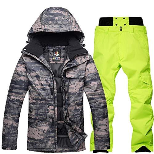 LNLW Herren Jacke windundurchlässige Snowboard-Mantel-Berg Regen Schnee Snowboard-Kleidung Anzug im Freien Winter warme wasserdichte Skihose Thick Tarnung (Farbe : 8, Size : S)