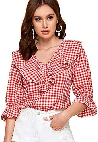 Romwe Women s Elegant Ruffle V Neck Flounce Sleeve Blouse Top Red S product image