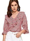 Romwe Women's Elegant Ruffle V Neck Flounce Sleeve Blouse Top Red L