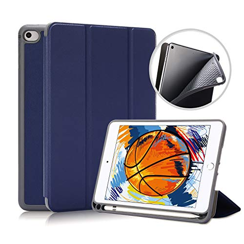 TRELC iPad Mini 5 Gen Case with Pencil Holder, Smart Cover Trifold Stand Auto Sleep Wake Ultra Slim for iPad Mini 5 Gen 4 Gen 7.9 inch 2019 (Blue)