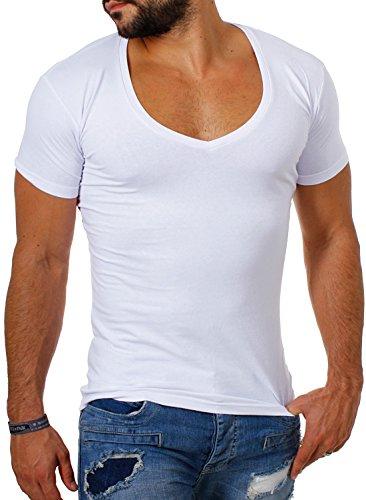 Young & Rich / Rerock Herren Uni T-Shirt mit extra tiefem V-Ausschnitt slimfit deep V-Neck stretch dehnbar einfarbiges Basic Shirt , Grösse:S;Farbe:Weiß