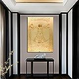 Classique homme de Vitruve par Leonardo Da Vinci affiche murale étude humaine toile affiche peinture photos décoration décor à la maison 60X90 CM pas de cadre