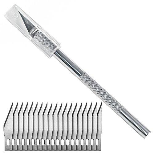 Washati® Bastelmesser mit 20 Skalpell Ersatzklingen Typ #11 Cutter Hobbymesser