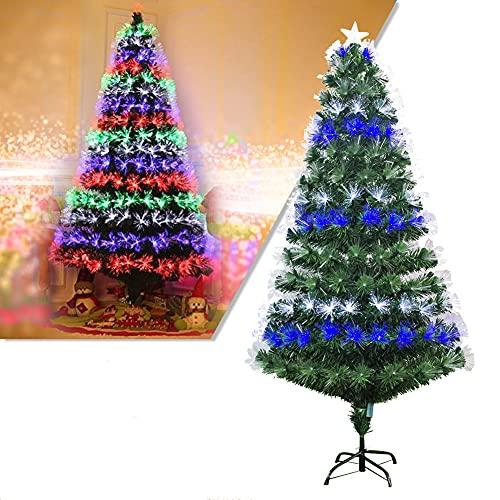 DYBITTS 1,2 M / 1,5 M / 1,8 M / 2,1 M Albero di Natale Artificiale dall'aspetto Naturale, Lampada in Fibra di Vetro Colorata Multi-specifica Albero di Natale Verde Supporto in Ferro Decorazione