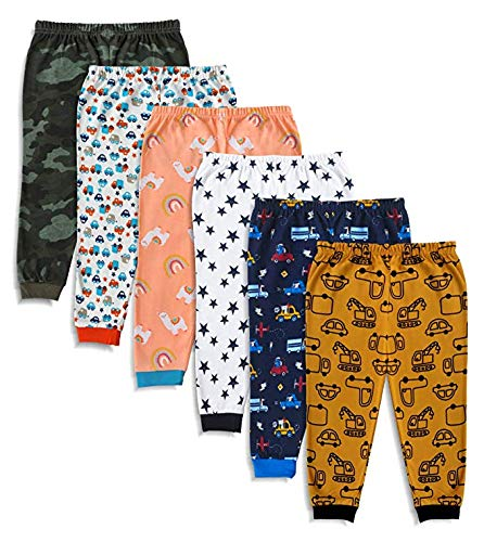 Mini Cult Unisex Cotton Pajama Pants with Rib (Multicolour, 3-4...