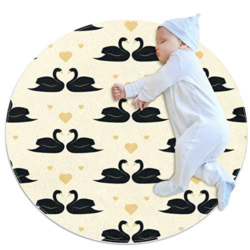 Vockgeng Cisne Negro Colchoneta de Ejercicios Suave y cómoda Alfombra Redonda baño Sala de Estar Almohadilla Antideslizante para Decorar la habitación 80cm