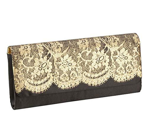 Womens Clutch Purse Elegant Black Gold Lace Evening Bag Nylon Satin Interior