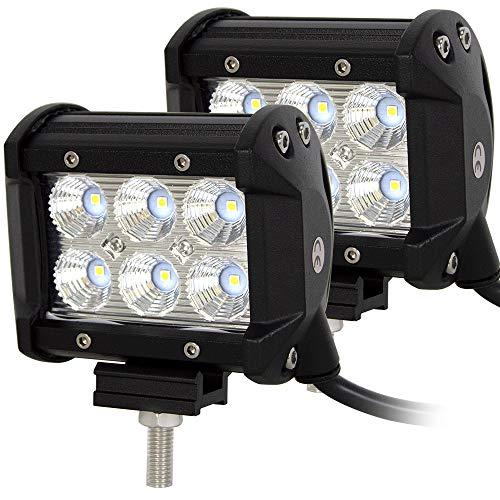 Barra LED Fuoristrada, Willpower Barra Luce a Led 10cm 18W Fascio Inondazione 12V - 24V Impermeabile Fari LED Luce da Lavoro Trattore Auto Veicoli 4x4 Atv UtV 4WD