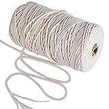 200m Cuerda Cordel de Algodón Hilo Macramé, 3 mm de diámetro, para Envolver Regalo Navidad, Colgar Fotos, Manualidades, Costura, DIY Artesanía