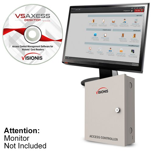 Visionis FPC-6202 Four Door Access Control TCP/IP Wiegand Controller Box with Power Supply Included Black Indoor/Outdoor Card Reader, Computer Based Software 10,000 Users Kit
