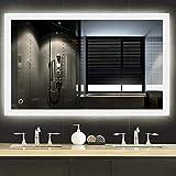 YJIIJY Espejo de Baño con LED Iluminado, Botón Táctil, Montado en la Pared, Espejo de Maquillaje Rectángulo para Baño/Hotel/Salón de Belleza (90x70x3.8 cm, White Light)